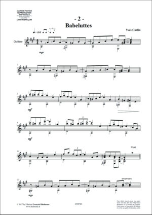 Friandises, 10 pieces for guitar by Yves Carlin