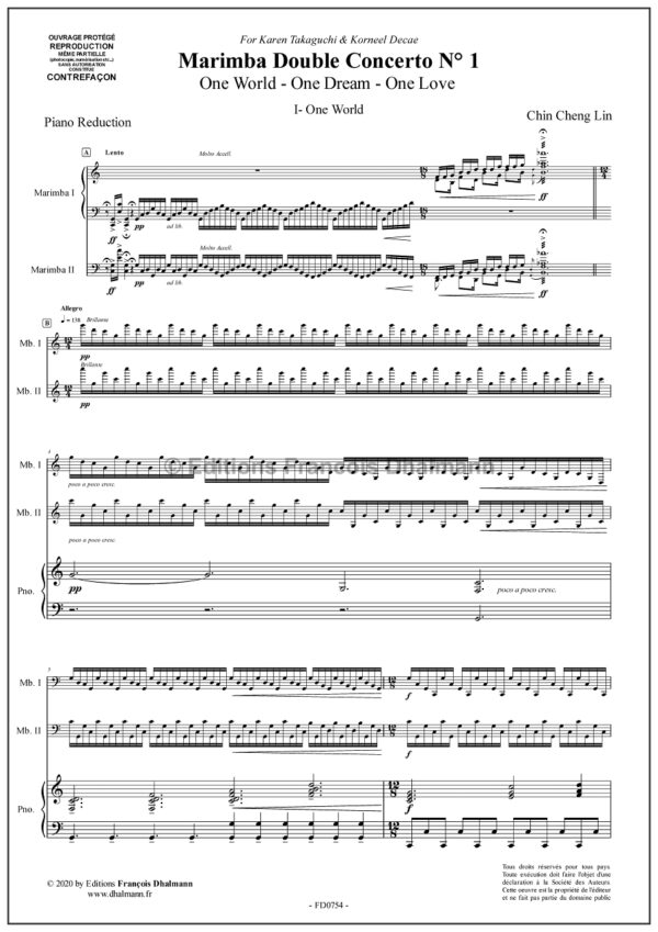 Double concerto N° 1 pour marimbas - Chin-Cheng Lin. Réduction Piano
