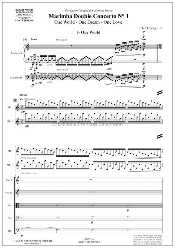 Marimba double concerto N°1 pour deux marimbas et orchestre à cordes