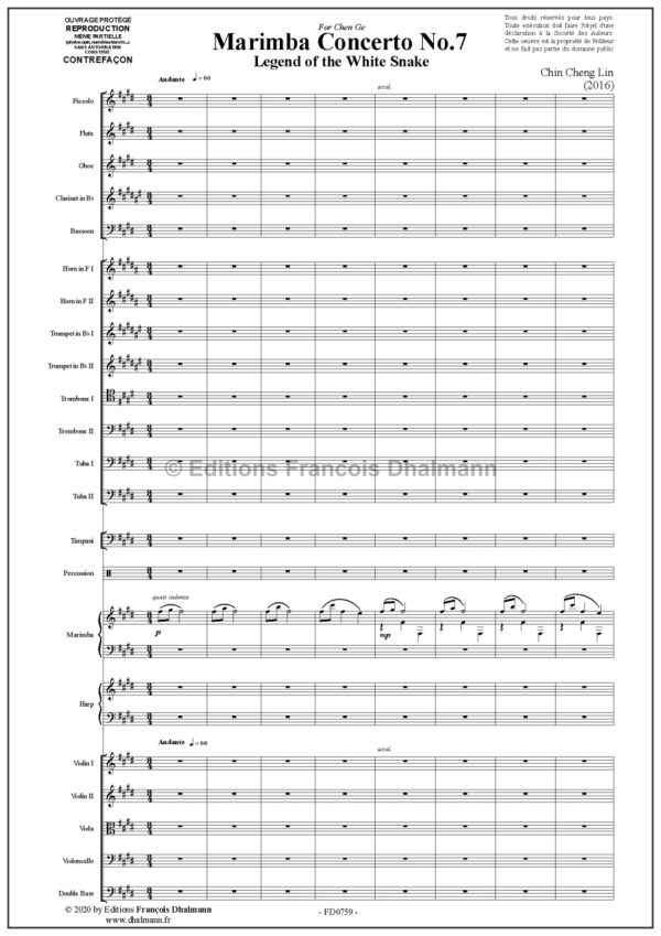 Concerto Nr 7 pour marimba et orchestre symphonique par Chin Cheng Lin.