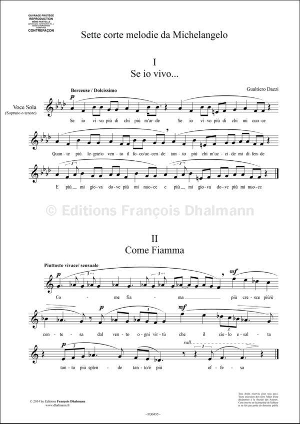 Sette corte melodie da Michelangelo