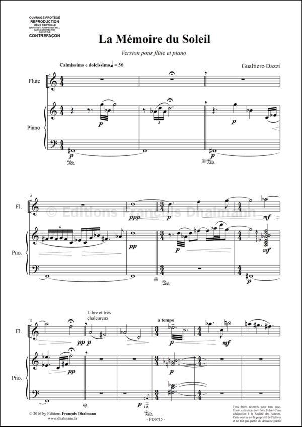 La Mémoire du Soleil. Version flûte et piano