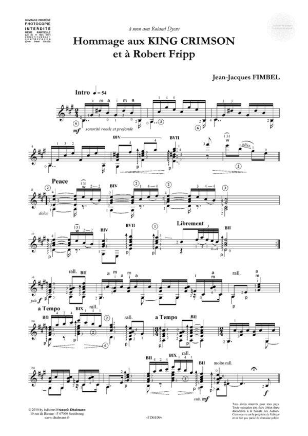 Hommage aux King Crimson et à Robert Fripp