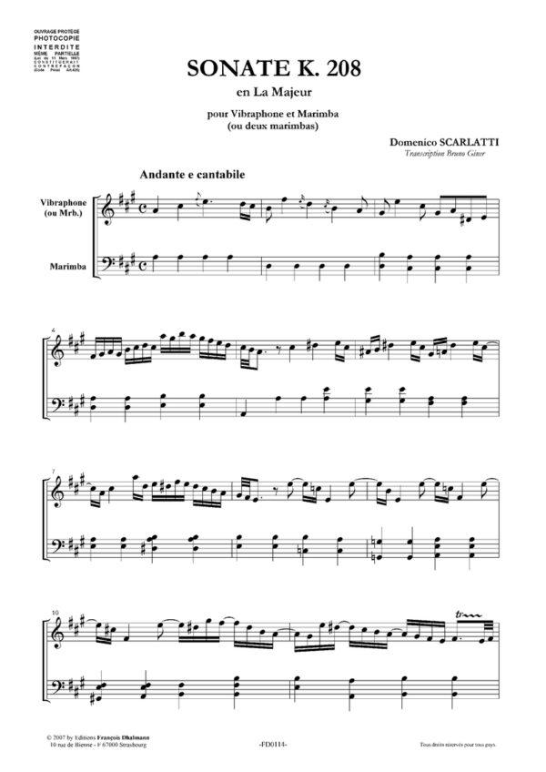 Sonate K. 208 en la majeur
