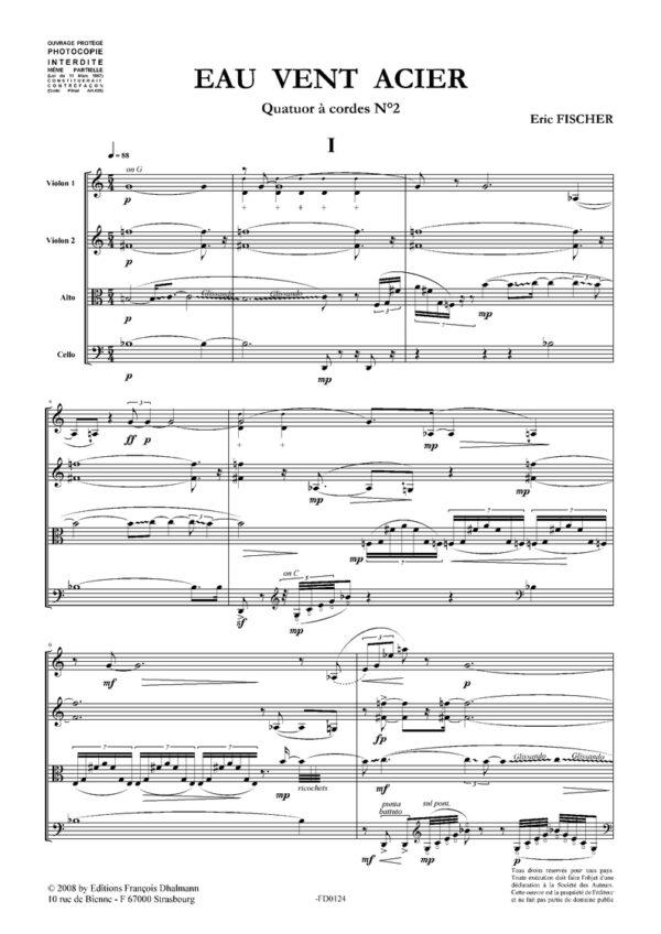 Eau Vent Acier. Quatuor à cordes N°2