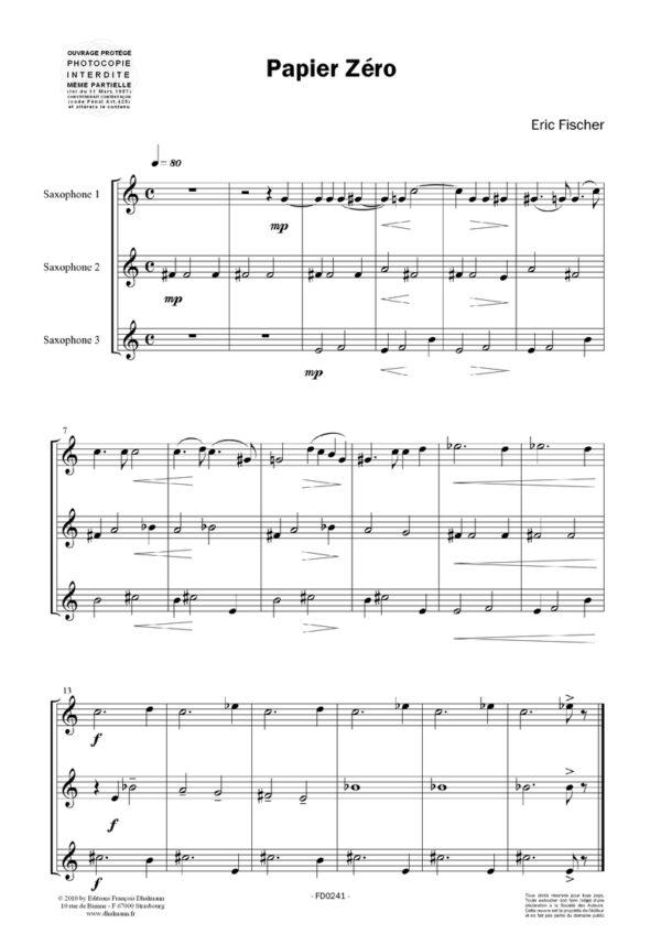 Papiers. 12 Trios faciles pour saxophone