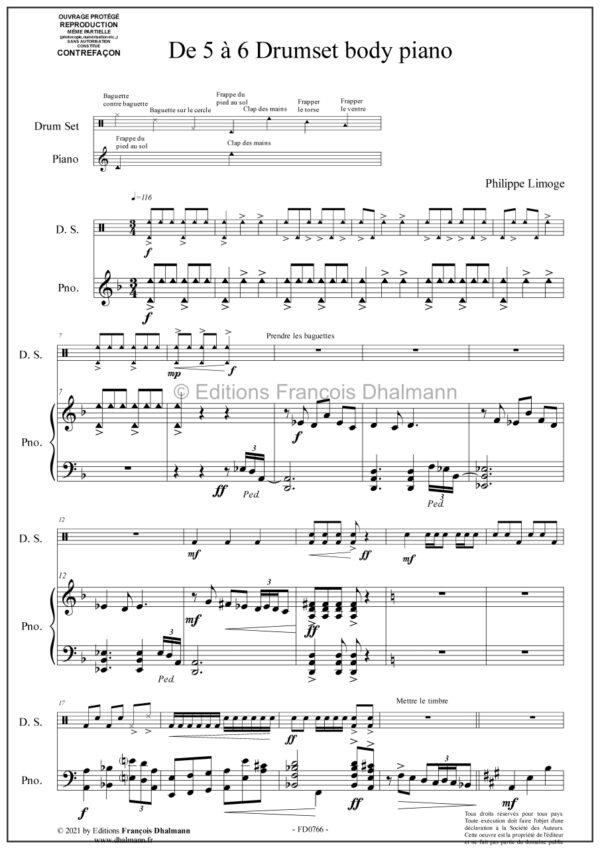 De 5 à 6 Drumset body piano