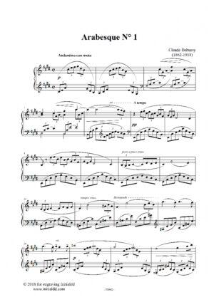 Arabesque N°1. Claude Debussy. Digital sheet music