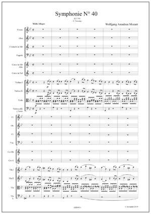 Symphonie Nr 40 – KV550 – W.A. MOZART. Movement 1