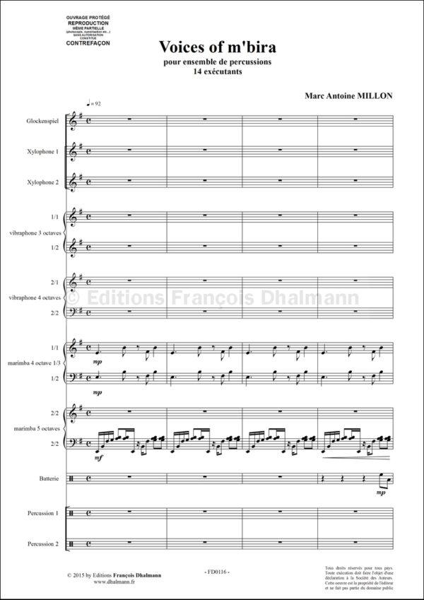 Voices of m'bira pour ensemble de percussion