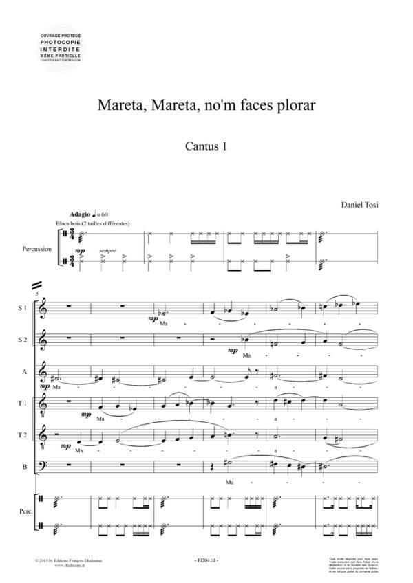 Mareta, Mareta, no'm faces plorar